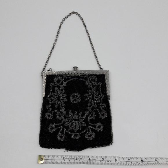 Vintage Handbags - Vintage Black and Silver Bead Evening Bag Purse